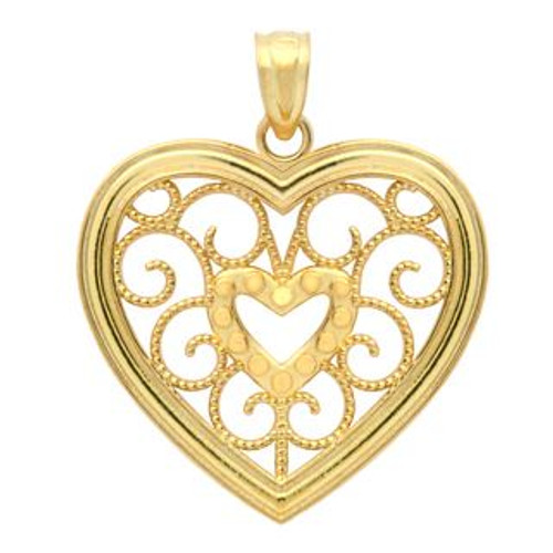 GOLD PLATED HEART AND BRANCHES HEART PENDANT