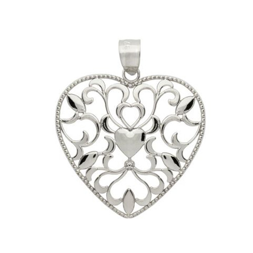 RHODIUM PLATED HEART AND FLORAL DESIGN HEART PENDANT