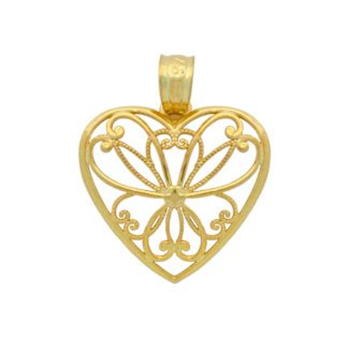 GOLD PLATED HEART BRANCHES IN A HEART PENDANT