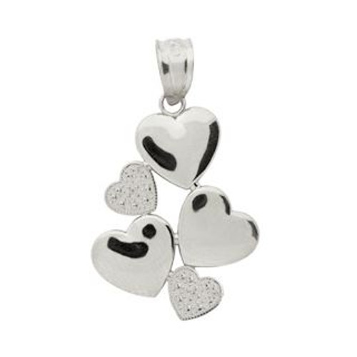 RHODIUM PLATED STERLING SILVER SMALL 5 HEART PENDANT