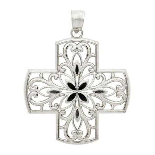 RHODIUM PLATED STERLING SILVER FLORAL DESIGN CUTOUTS IN A CROSS PENDANT