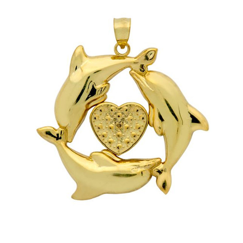 GOLD PLATED DOLPHINS AND HEART PENDANT