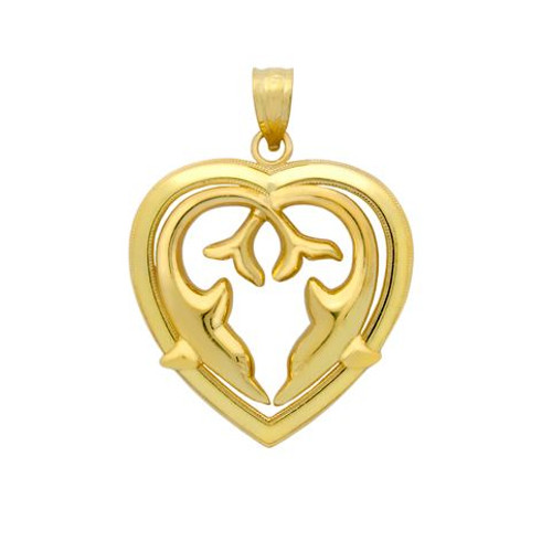 GOLD PLATED HEART OF DOLPHINS PENDANT
