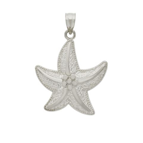 RHODIUM PLATED SMALL STARFISH PENDANT