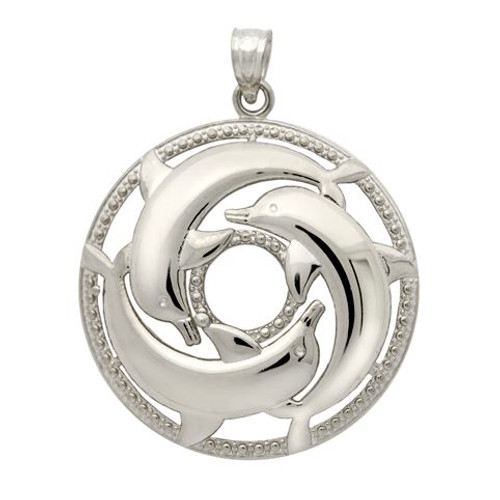 RHODIUM PLATED CIRCLE OF DOLPHINS PENDANT