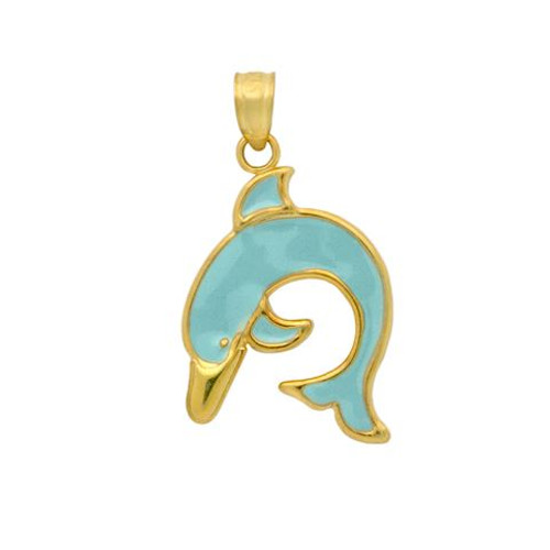GOLD PLATED ENAMELED DOLPHIN CHARM