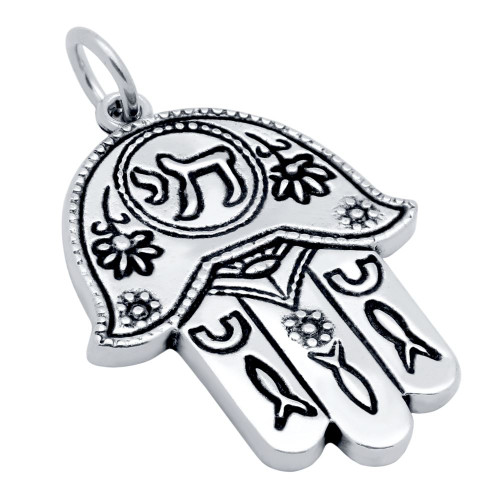 LARGE DETAILED HAMSA HAND PENDANT