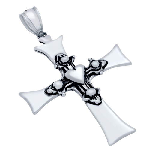 STERLING SILVER 28MM DUAL CROSS AND HEART PENDANT