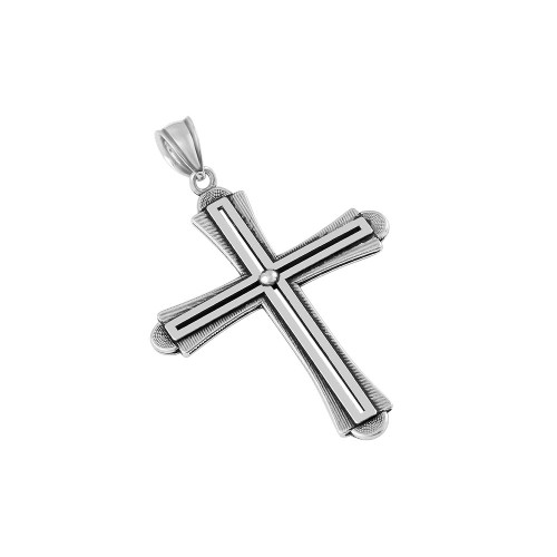 STERLING SILVER 31MM STYLIZED SLOTTED CROSS PENDANT