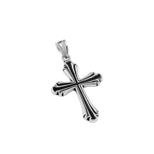 STERLING SILVER 19MM STYLIZED CROSS PENDANT