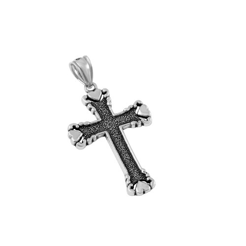 STERLING SILVER 22MM STYLIZED CROSS OF HEARTS PENDANT
