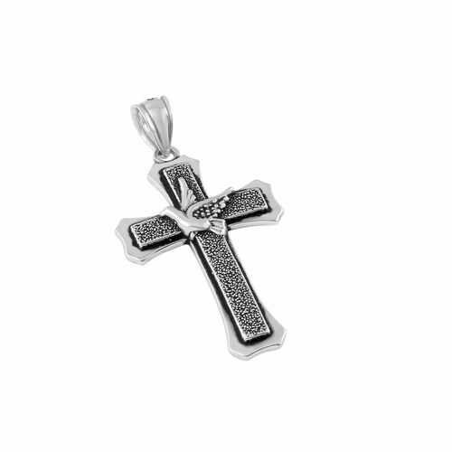 STERLING SILVER 22MM STYLIZED CROSS WITH A DOVE PENDANT