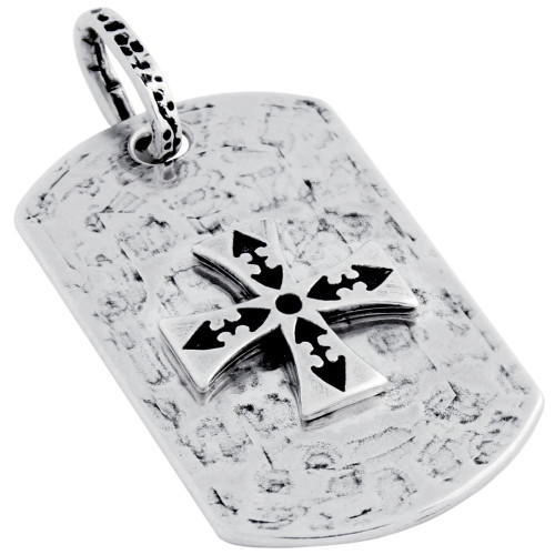 HAMMER FINISH MALTESE CROSS DOG TAG