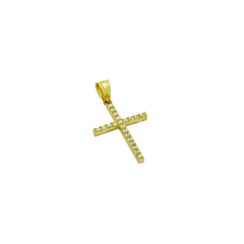 GOLD PLATED CROSS PENDANT WITH CZS