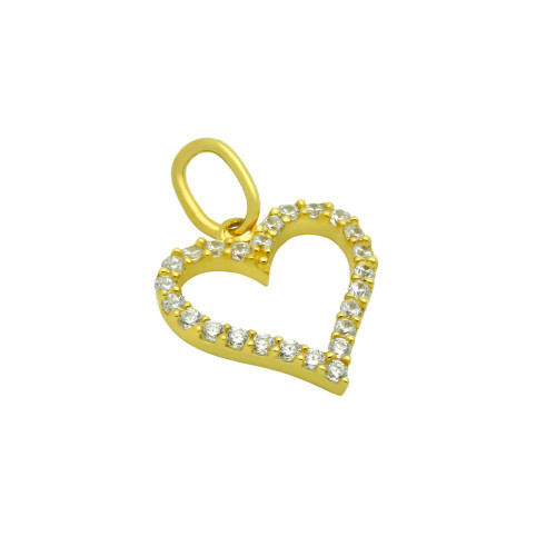 GOLD PLATED 13MM CZ OUTLINE HEART PENDANT