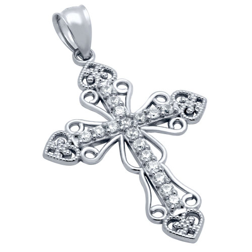 RHODIUM PLATED PAVE CZ INTRICATE CROSS PENDANT