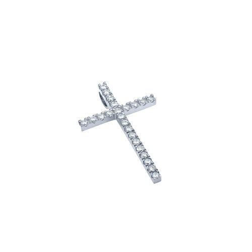 SMALL RHODIUM PLATED CROSS PENDANT WITH CZS
