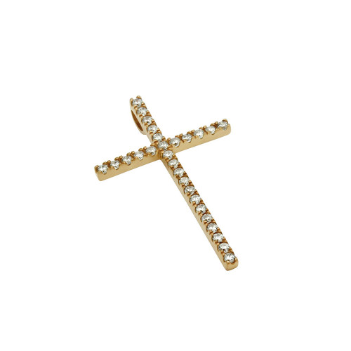 MEDIUM ROSE GOLD PLATED CROSS PENDANT WITH CZS