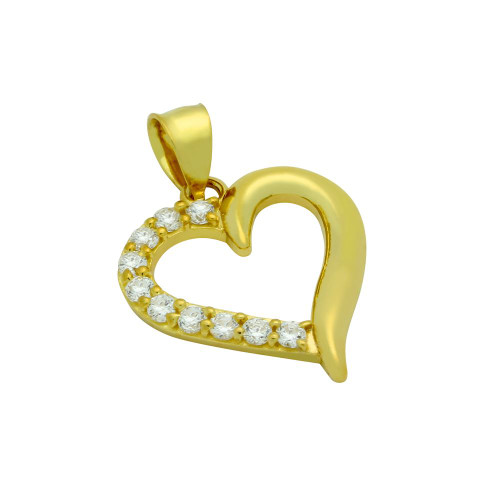 GOLD PLATED CZ HEART PENDANT
