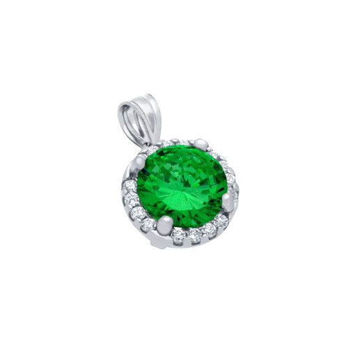RHODIUM PLATED 7.5MM GREEN ROUND CZ PENDANT WITH ALL AROUND CLEAR CZ STONES