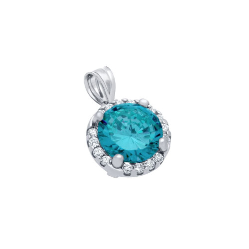 RHODIUM PLATED 7.5MM LIGHT BLUE ROUND CZ PENDANT WITH ALL AROUND CLEAR CZ STONES