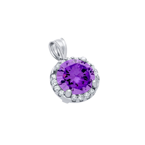 RHODIUM PLATED 7.5MM PURPLE ROUND CZ PENDANT WITH ALL AROUND CLEAR CZ STONES