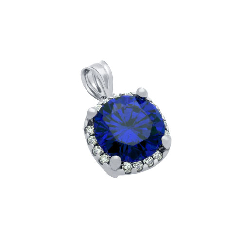 RHODIUM PLATED BLUE SQUARE SHAPE 9MM ROUND CZ PENDANT WITH ALL AROUND CLEAR CZ STONES