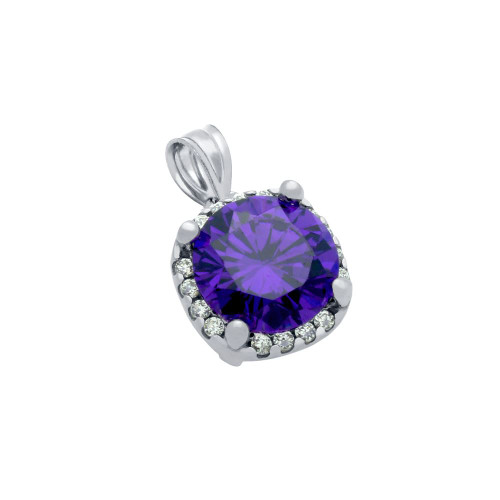 RHODIUM PLATED PURPLE SQUARE SHAPE 9MM ROUND CZ PENDANT WITH ALL AROUND CLEAR CZ STONES