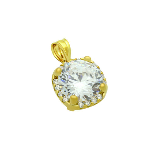 GOLD PLATED SQUARE DESIGN 9MM ROUND CZ PENDANT WITH ALL AROUND SMALL CZ STONES
