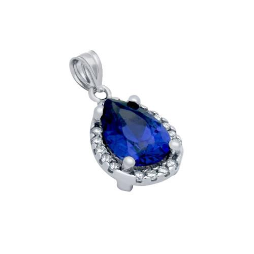 RHODIUM PLATED BLUE TEARDROP CZ PENDANT WITH ALL AROUND CLEAR CZ STONES