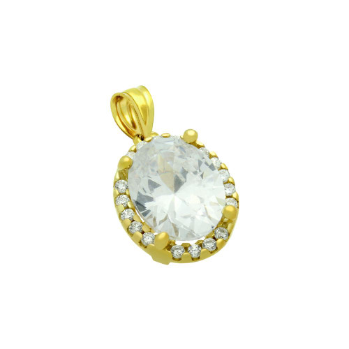 GOLD PLATED OVAL CZ PENDANT WITH ALL AROUND SMALL CZ STONES