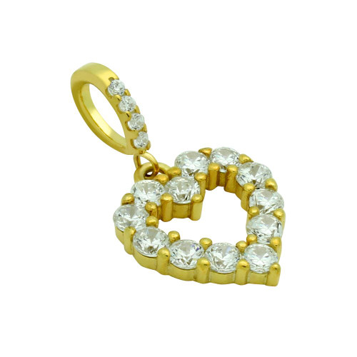 GOLD PLATED SMALL CZ CUT OUT HEART PENDANT
