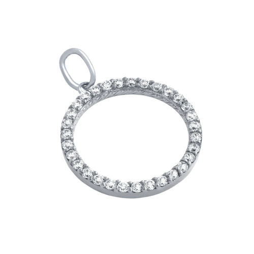 RHODIUM PLATED 18MM CZ ETERNITY CIRCLE PENDANT