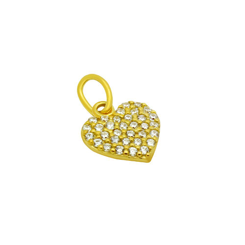 GOLD PLATED CZ PAVE HEART PENDANT