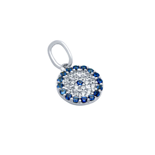 RHODIUM PLATED BLUE EYE CZ PAVE PENDANT