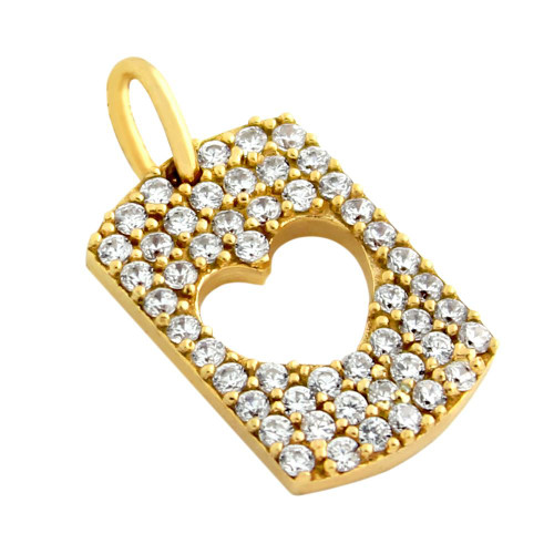 GOLD PLATED CZ PAVE TAG PENDANT WITH CUTOUT HEART