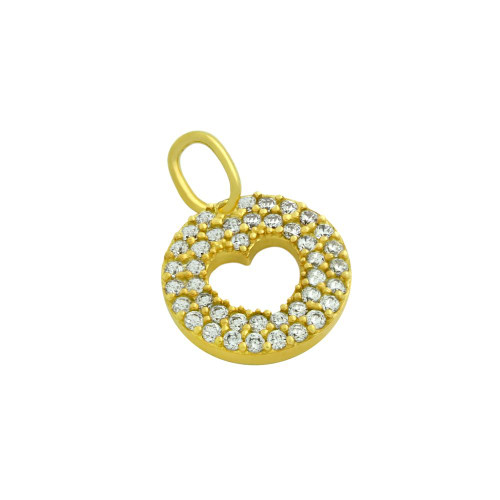 GOLD PLATED CZ PAVE DISK PENDANT WITH CUTOUT HEART