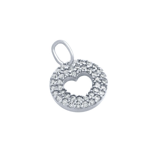 RHODIUM PLATED CZ PAVE DISK PENDANT WITH CUTOUT HEART
