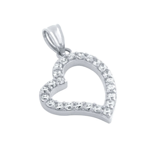 RHODIUM PLATED CUTOUT HEART PENDANT WITH 1.5MM CZ PAVE