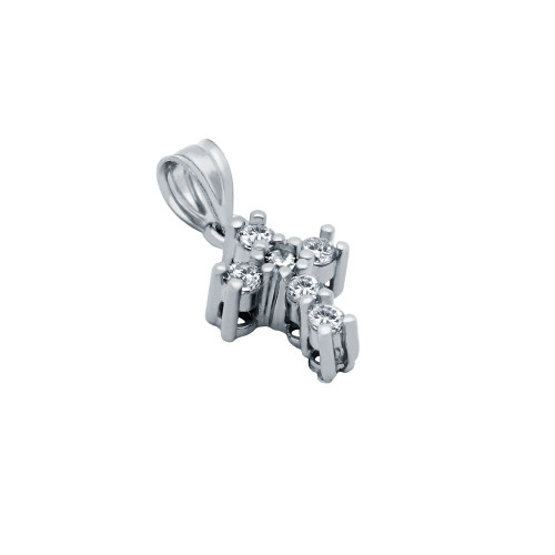 RHODIUM PLATED SMALL CZ CROSS PENDANT