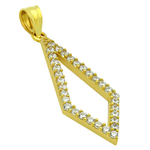 GOLD PLATED KITE OUTLINE CZ PAVE PENDANT