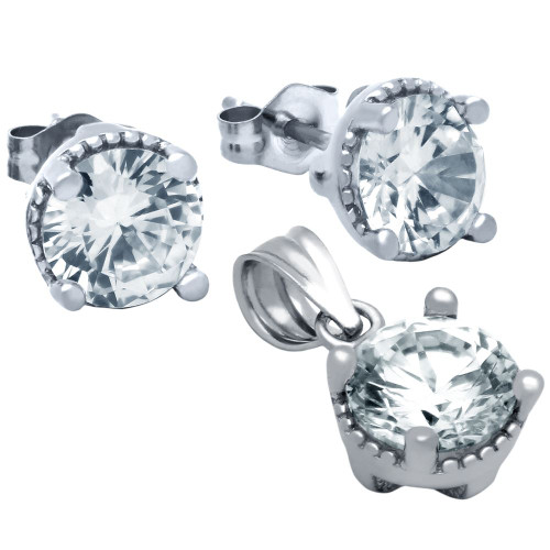 RHODIUM PLATED ROUND CZ SET PENDANT AND STUD EARRINGS