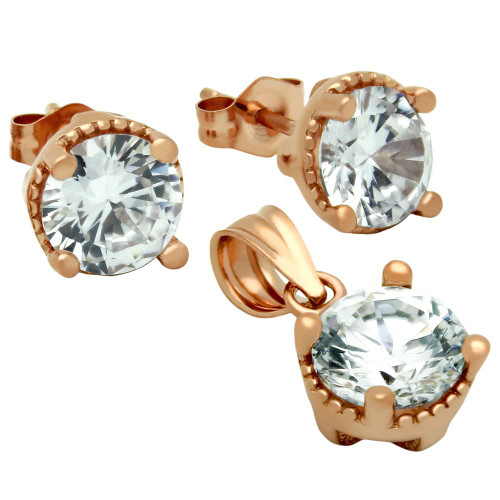 ROSE GOLD PLATED ROUND CZ SET PENDANT AND STUD EARRINGS
