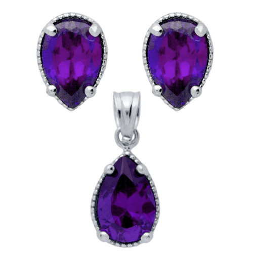 RHODIUM PLATED SET: PURPLE 6X9MM PEAR SHAPE CZ EARRINGS AND PENDANT