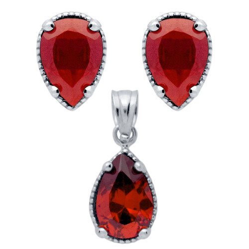 RHODIUM PLATED SET: RED 6X9MM PEAR SHAPE CZ EARRINGS AND PENDANT