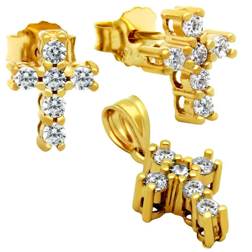 GOLD PLATED CROSS CZ SET PENDANT AND STUD EARRINGS