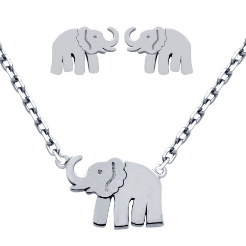 """RHODIUM PLATED SET: ELEPHANT EARRINGS AND 16+2"""" NECKLACE"""