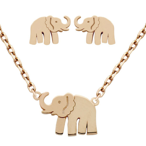 "ROSE GOLD PLATED SET: ELEPHANT EARRINGS AND 16+2"" NECKLACE"