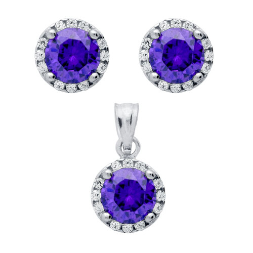 RHODIUM PLATED SET: PURPLE 6.5MM ROUND CZ EARRINGS AND PENDANT WITH CZ HALO