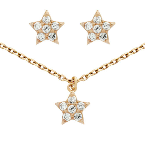 "ROSE GOLD PLATED SET: CZ CLUSTER STAR EARRINGS AND 16+2"" NECKLACE"